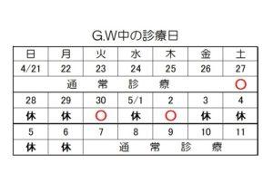 GW診療日程